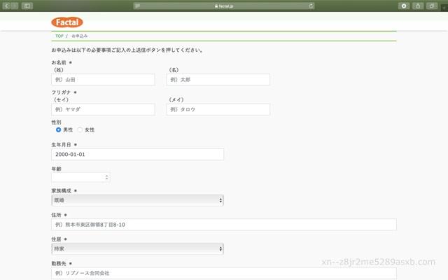 ファクタル 申込画面